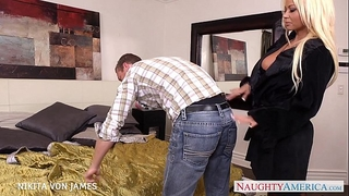 Platinum blond nikita von james ride a large schlong
