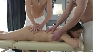 Double permeated by slutty masseurs