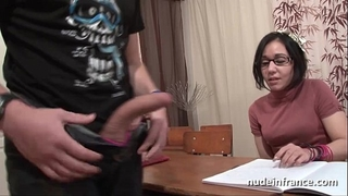 Amateur french schoolgirl hard sodomized with cum to throat in classroom
