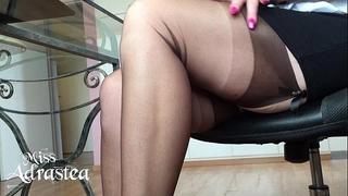 Miss adrastea nylonfeet underneath table