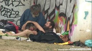 Pure street life homeless three-some having sex on public