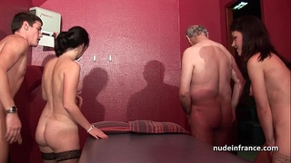 Young french honeys group-fucked and sodomized in 4some with papy voyeur