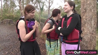Hairy dilettante slutwife fingered in rafting three-some