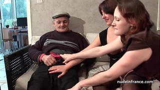 Ffm 2 french brunette hair sharing an old stud wang of papy voyeur