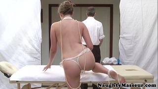 Allie haze on massage table wishes penis