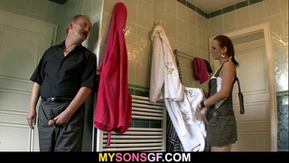 Horny daddy uses son's girlfriend