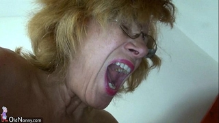 Fat granny and bulky older masturbating bawdy cleft jointly