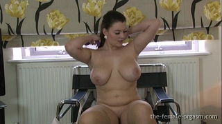Curvaceous large breasted hottie masturbates to a real big O