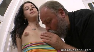 Olga has her marangos licked by aged stud