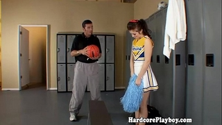 Amateur legal age teenager cheerleader drilled by trainer
