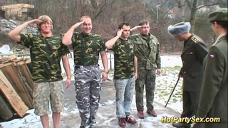 Military bukkake fuckfest