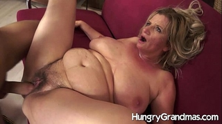 Hairy granny love tunnel for younger fellow