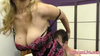 Milf julia ann teases serf with her feet!